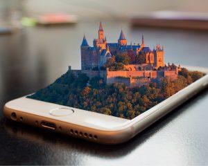 Hologram van een kasteel uit een smartphone: sommige games voor vrouwen zijn buitengewoon mooi.