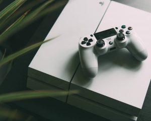 Witte Playstation gamecontroller op een witte Playstation met groene bladeren aan de zijkant. Een kunstzinnige foto die je een voorproefje geeft van de horror, kunst en meditatie games in dit artikel.